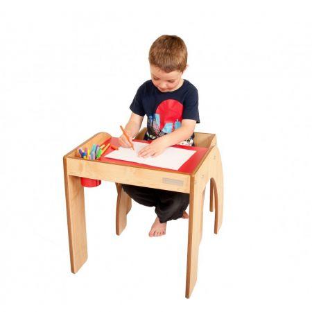 Birou cu scaun FunStation Rosu din lemn, pentru copiii mai mici
