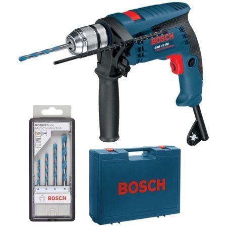 Set Bosch Professional masina de gaurit cu percutie GSB 13 RE   set 4 burghie MultiConstruction   Valiza