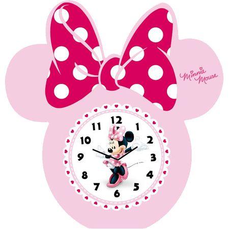 Ceas masa din lemn funda roz Minnie Mouse, copii