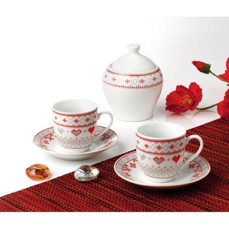 Serviciu de cafea OTI, portelan, 6 piese, model Traditional