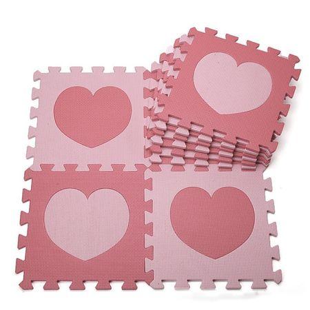 Covor din burete, roz 9 piese puzzle, 32*32 cm