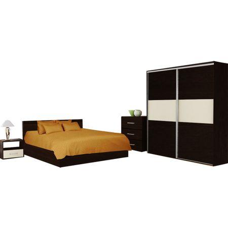 Dormitor Praga, dulap 200x160x60, Negru/Crem, stil minimalist