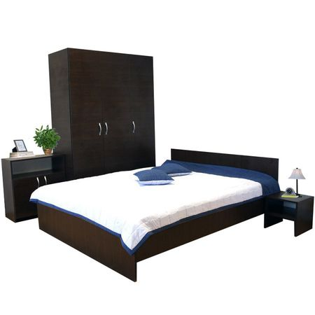 Set dormitor, negru Amos, wenge, pal, modern