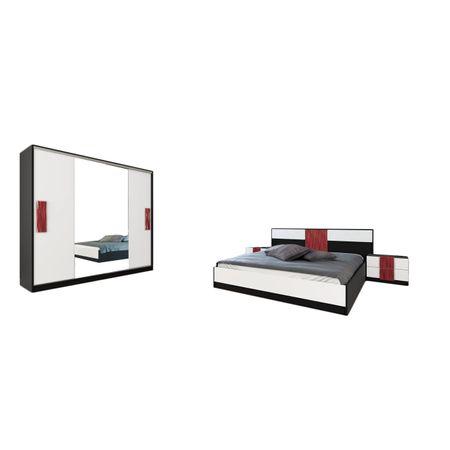 Set mobilier dormitor FDRR 2541, alb/negru/rosu
