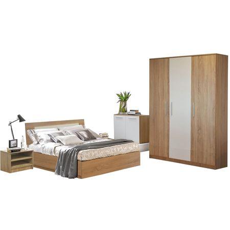 Dormitor Sonoma Bardolino/Alb 160,  crem, modern
