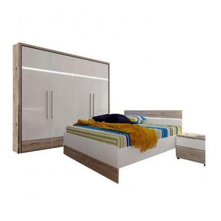 Set Dormitor Mercur cu Dulap 4 Usi, pat 160x200, noptiera, iluminare cu led, suport saltea
