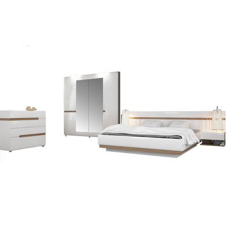 Set Dormitor alb, stil minimalist, Linate 218,5 x 59 x209 cm