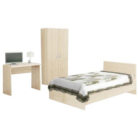 Set Dormitor 1 persoana, crem, Stejar Ferrara