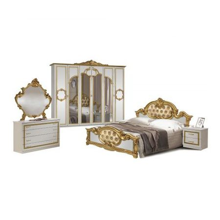 Dormitor italian clasic alb lucios cu auriu BAROCO, vintage
