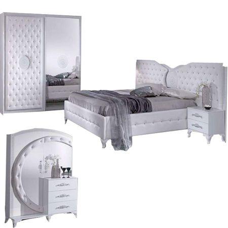 Dormitor Italian modern, alb, cu usi glisante, ANTALIA