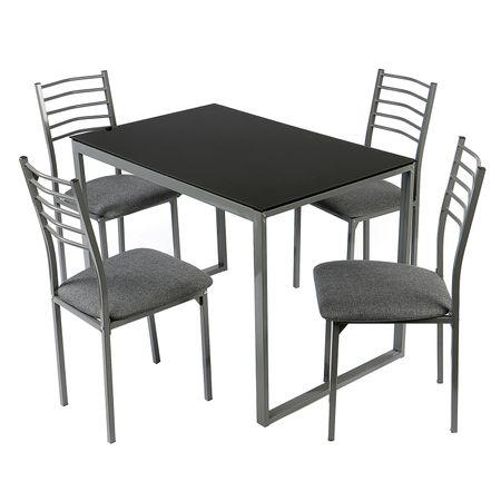 Set dining Kring London, masa si 4 scaune, 110x70x75 cm, negru