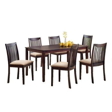 Set masa cu 6 scaune, maro, LEWIS, lemn masiv, wenge