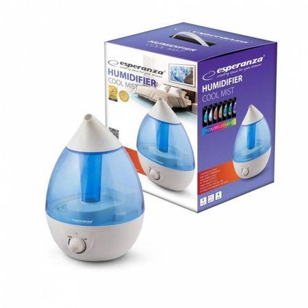 Umidificator de aer silentios, lumina LED in 7 culori, functie de lampa de veghe