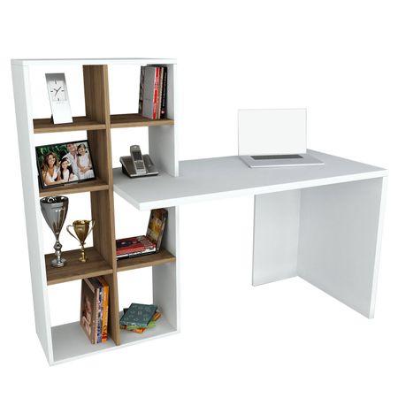 Birou alb, Wooden Art, 151 x 123.6 x 60 cm, stil minimalist