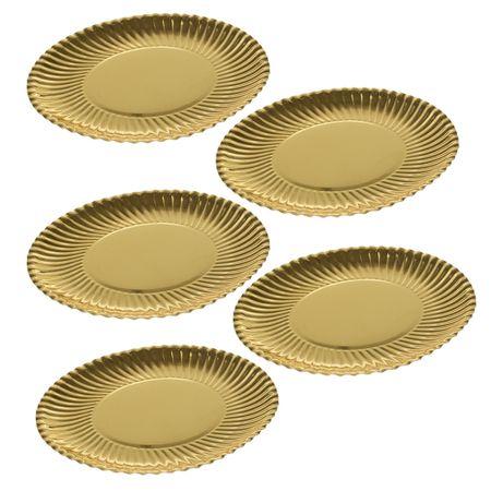 Set 5 farfurii desert, carton, Dolce Vita, auriu, 24 cm