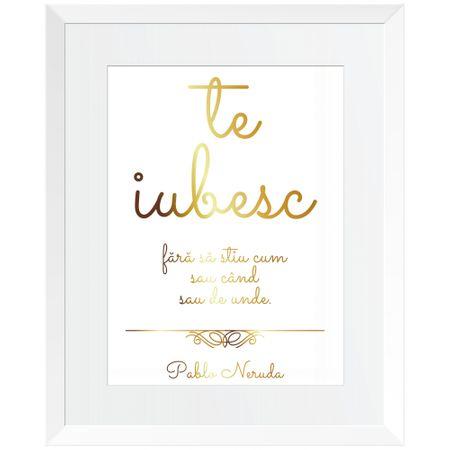 Tablou decorativ Citat: Te iubesc, Auriu stralucitor Anais, inramat, 26x32 cm