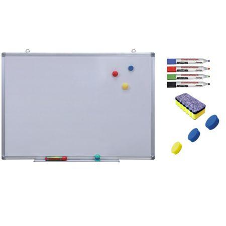 Pachet Tabla alba magnetica, 120x240 cm Premium accesorii: markere, burete, magneti
