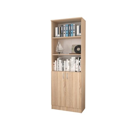Biblioraft cu Usi Inferioare si 2 Polite, Sonoma, 70 x 32 x 200 cm crem