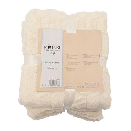 Patura pufoasa Kring Soft  imitatie de blana, crem