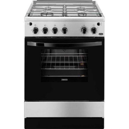 Aragaz Zanussi ZCG612H1XA, 4 arzatoare, Aprindere electrica plita si cuptor, Grill, Rotisor, 60 cm, Inox