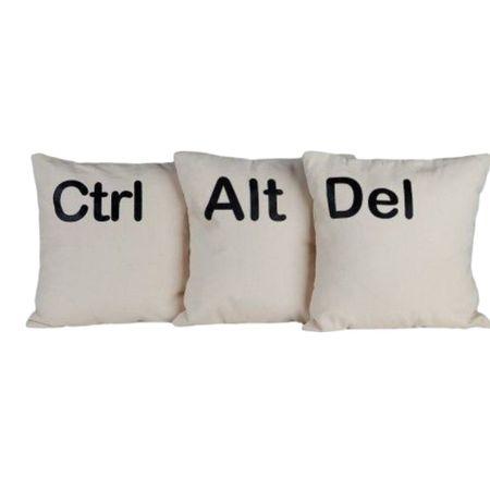 Set trei perne albe ALT CTRL DEL, 40x40 cm, material satinat