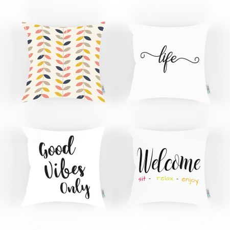 Set 4 perne decorative cu mesaj Good Vibes Only, Welcome, Life si pattern frunze colorate