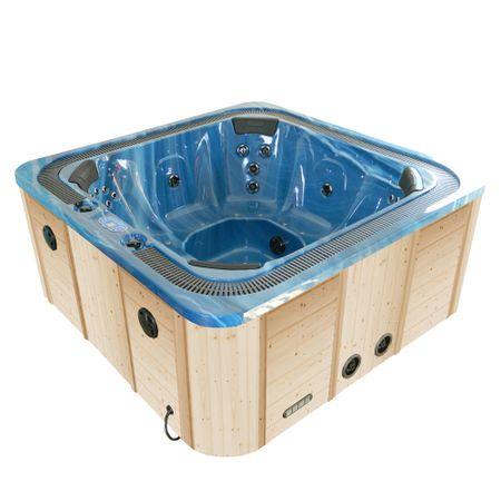 Minipiscina SPA-308 supraterana, albastru marin, fatada lemn nelacuit, 2220 x 2220 x 1000 mm, capacitate: 7 persoane,acril sanitar antibacterian