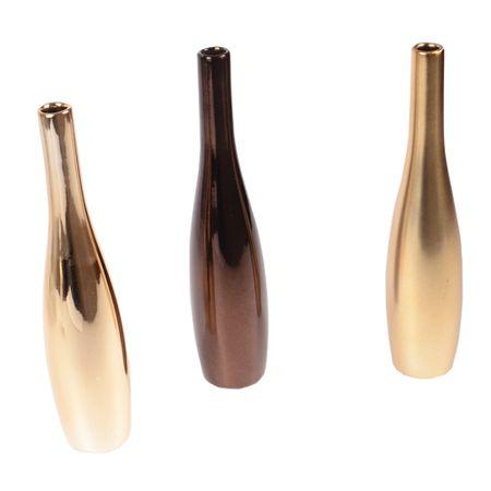 Set 3 vaze decorative ceramica, vaza flori in trei nuante, Maxx, 22 cm