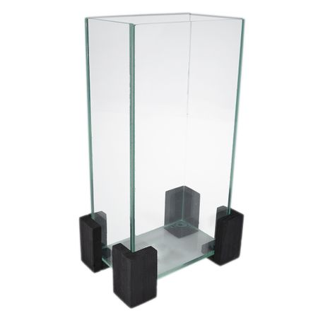 Vaza decorativa din sticla cu suport lemn, vas nisip decorativ, transparent,  h 24.5 cm, Maxx