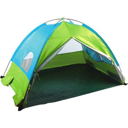 Cort Pop-Up Pentru Plaja cu Protectie UV50 NOVOKIDS™ KIDSTARZ, Spatiu Acoperit Pentru Joaca, Protectie Soare Vant Ploaie, 2 Ferestre, 150cmx100cmx90cm, Geanta inclusa, Albastru, Verde
