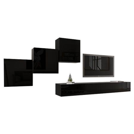 Set Living Modular Quadro 10 , MDF Lucios, Negru, Dimensiune 360 cm