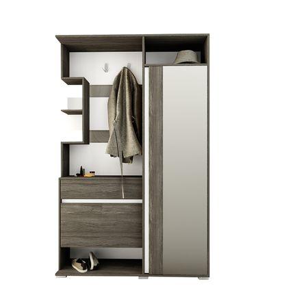 Cuier hol FDRR 40001, stejar cafea/alb, oglinda, PAL