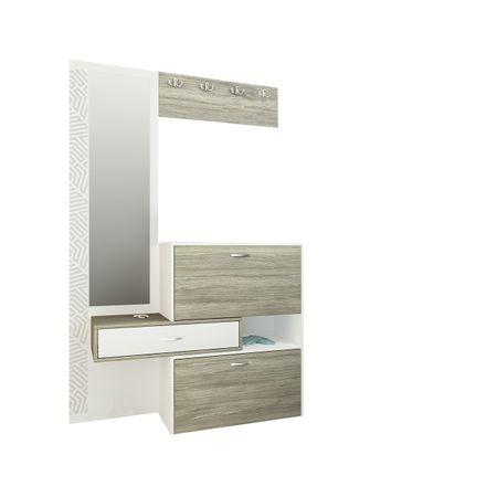 Cuier hol FDRR 40011, alb/stejar, oglinda, PAL