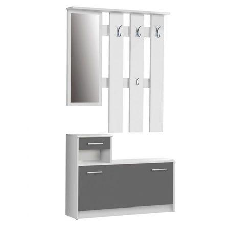 Cuier Hallways Mobila Sigma, PAL alb/negru, 180x97.5x25 cm