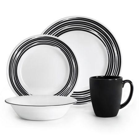 Serviciu de masa 16 piese, alb cu negru, Brushed Black