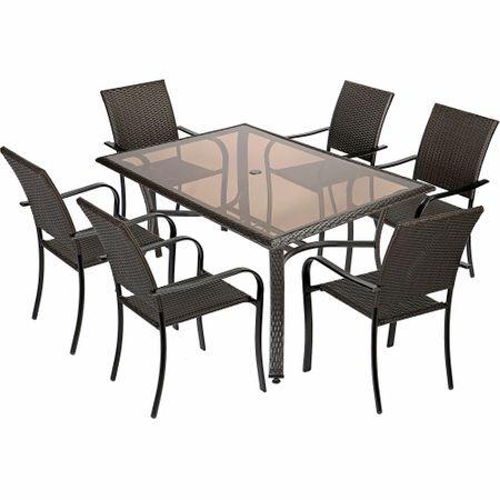 Set mobilier gradina Kring Amalfi, masa si 6 scaune, Maro