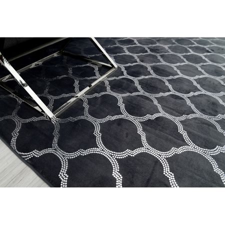 Covor Glamour Sidef, Negru, 4 cm grosime, spate Anti-Derapant, 140x200 cm