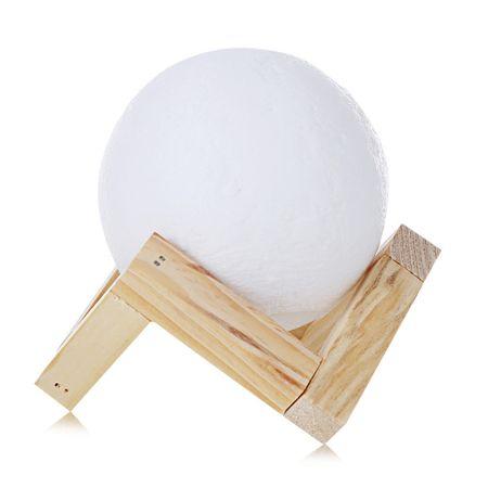 Lampa Moon 3D cu suport de lemn, alb cald, alb rece, rosu, reincarcabila, 8 cm diametru