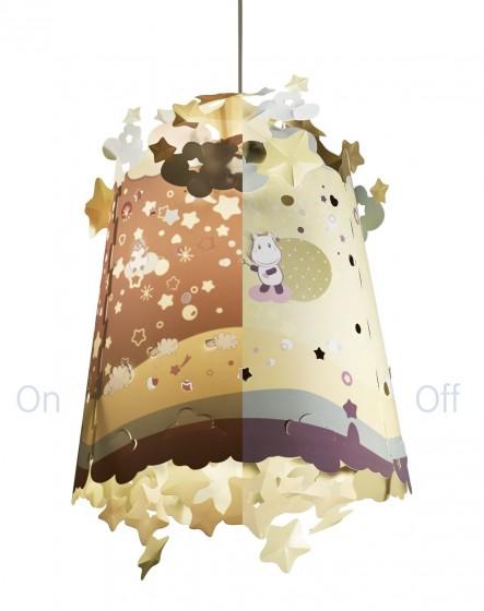 Abajur pentru lampa de tavan copii Pabobo cu Hipopotami care proiecteaza pe perete