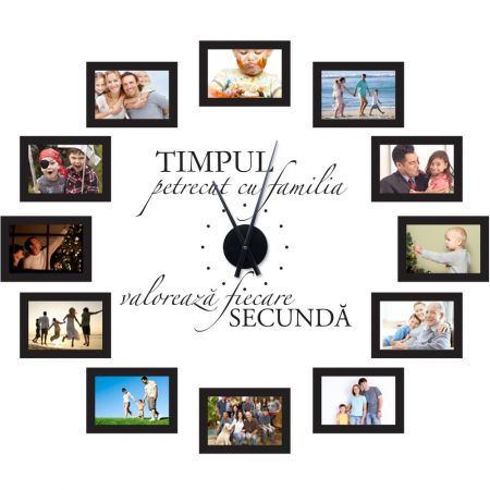 Ceas de Perete cu poze de Familie - negru - 96x81 cm, minimalist