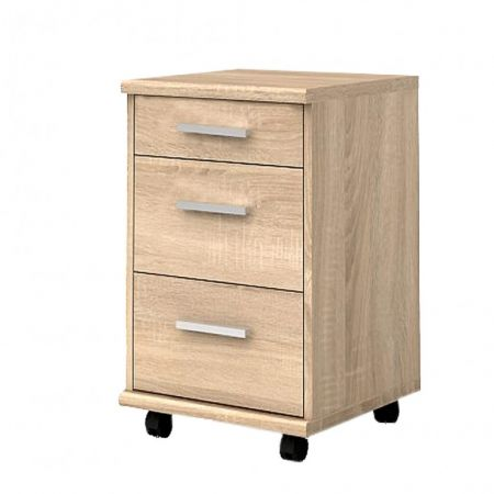 Comoda cu 3 sertare mobila Brw Office KON 3S, Stejar Sonoma, 56 x 40 x 40cm