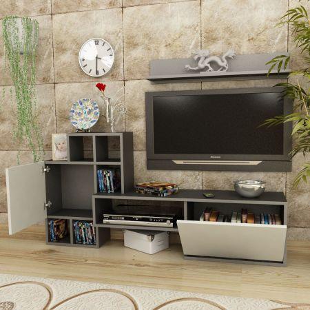 Comoda TV Rinaldo Modella 160 x 30 x 78.2 cm, alb/gri