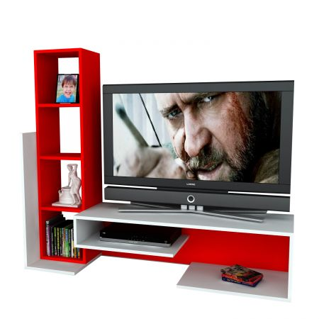 Comoda TV Wooden Art, 153.6 x 130.9 x 29.5 cm, Alb/Rosu