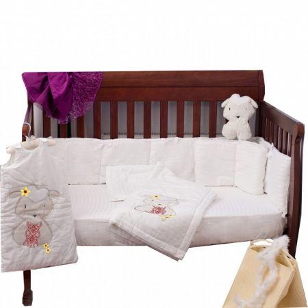 Set patut bebe 4 piese 70 x 140cm Oita damasc alb
