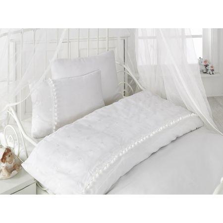 Lenjerie de pat pentru copii Cotton Box simpla, brodata, 120x150 cm, Alb