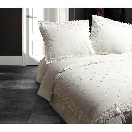 Lenjerie de pat crem pentru doua persoane Fancy Embroidery, micropercal, 200 x 220 cm