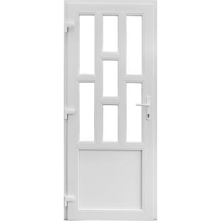 Usa pvc intrare exterior 86x205 alb stanga