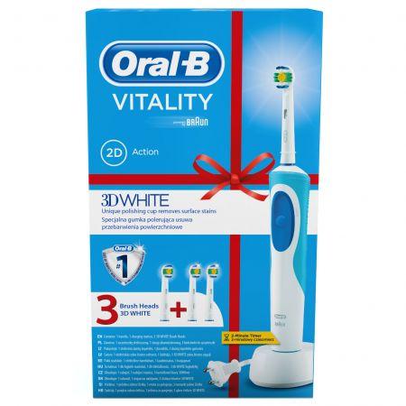 Periuta de dinti electrica Oral-B Vitality White D12.513, 7600 Oscilatii/min, Alb/Albastru + Rezerva EB18-3