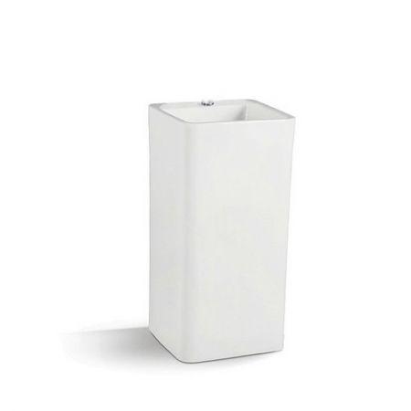 Lavoar ceramic Dalet Square Freestanding 40 x 40 x 85 cm, Patrat, Montaj pe pardoseala, Cu preaplin, Alb