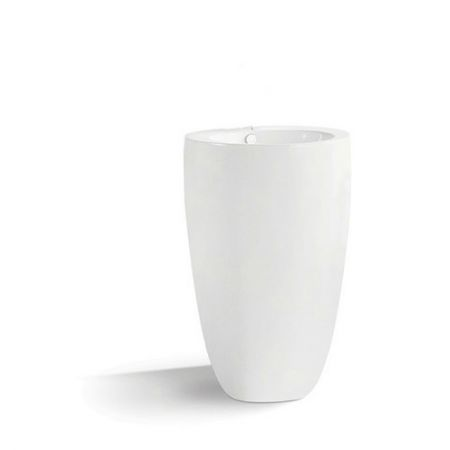 Lavoar ceramic Dalet Round Freestanding 50 x 50 x 83 cm, Rotund, Montaj pe pardoseala, Cu preaplin, Alb